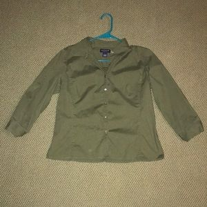 Ann Taylor Olive Button Up